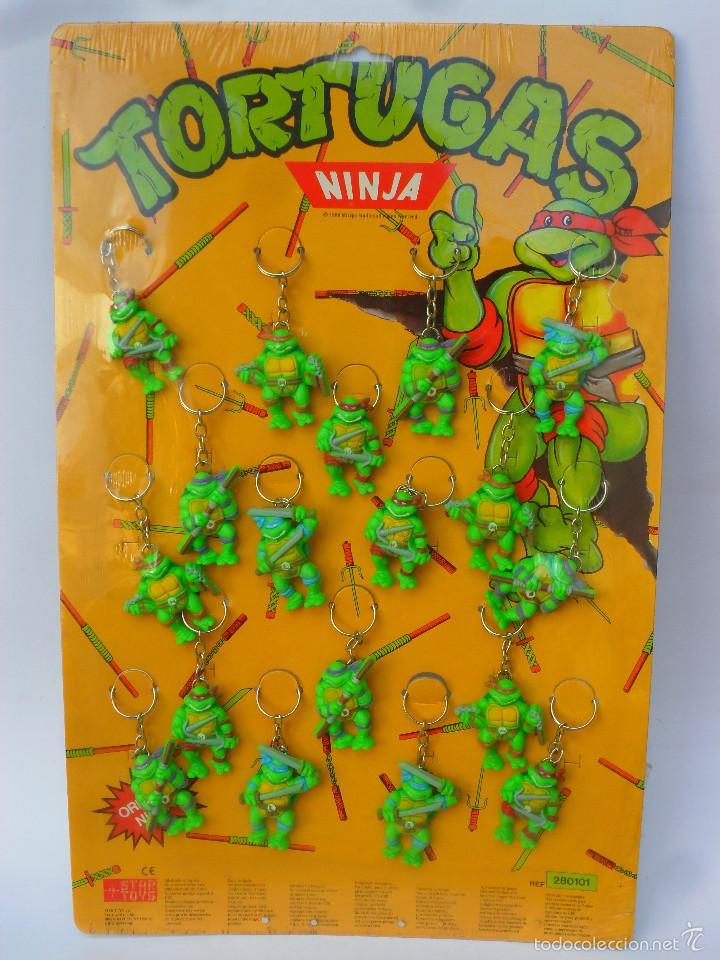 TMNT TORTUGAS NINJA EXPOSITOR CON 18 LLAVEROS MIRAGE STUDIOS STAR TOYS 1988 (Juguetes - Figuras de Acción - Tortugas Ninja)