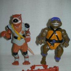 Figuras y Muñecos Tortugas Ninja - LOTE DE 2 FIGURAS CON ARMAS DONATELLO Y MAESTRO SPLINTER DE LAS TORTUGAS NINJA ORIGINALES AÑOS 80 - 128673087