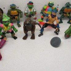 Figuras y Muñecos Tortugas Ninja - Lote 12 figuras + moto TORTUGAS NINJA TMNT Playmates 1988-92,SPLINTER,DONATELLO,MICHELANGELO,BOOTLEG - 132831490