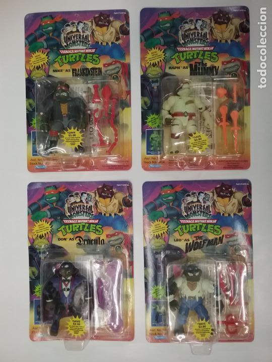 UNIVERSAL MONSTERS - SERIE I - TMNT - 1993 - DRÁCULA - FRANKENSTEIN - WOLFMAN - NUMMY (Juguetes - Figuras de Acción - Tortugas Ninja)