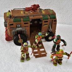 Figuras y Muñecos Tortugas Ninja: FURGON TORTUGAS NINJAS + LAS 4 TORTUGAS CON SUS ARMAS - FURGON 33X18X24.CM ALTO - FIGURAS 12.CM APRX. Lote 150034122
