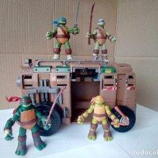 Figuras y Muñecos Tortugas Ninja: LOTE DE FURGONETA SHELL RAISER+LAS 4 TORTUGAS NINJA-VER FOTOS. Lote 177985427