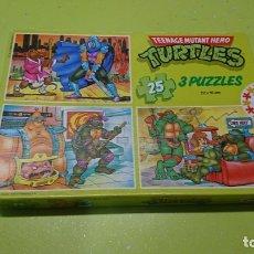 Figuras y Muñecos Tortugas Ninja: PUZZLE EDUCA TORTUGAS NINJA, 3 PUZZLES, 22 X 16 CM. Lote 180391597