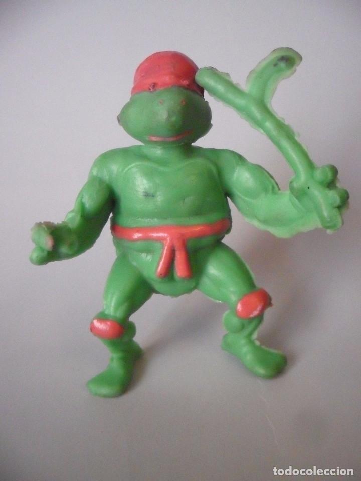 RARA VINTAGE TMNT FIGURA TORTUGA NINJA BOOTLEG DE GOMA (Juguetes - Figuras de Acción - Tortugas Ninja)