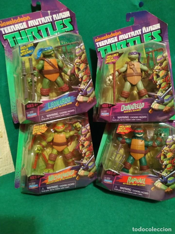 LOTE 4 TORTUGAS LEONARDO DONATELO MIQUELANGELO RAFAEL PLAYMATES NICKELODEON 2012 EN BLISTER (Juguetes - Figuras de Acción - Tortugas Ninja)