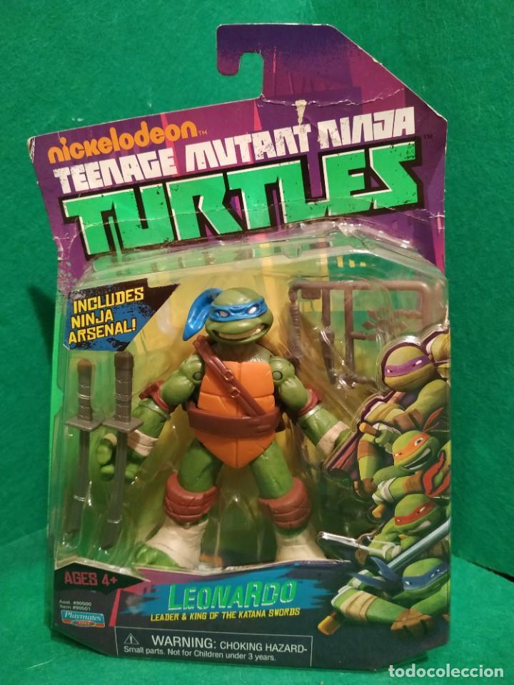 Figuras y Muñecos Tortugas Ninja: Lote 4 tortugas Leonardo Donatelo Miquelangelo Rafael Playmates Nickelodeon 2012 en Blister - Foto 2 - 194978540