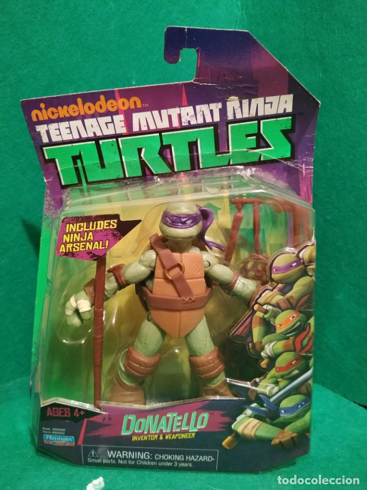 Figuras y Muñecos Tortugas Ninja: Lote 4 tortugas Leonardo Donatelo Miquelangelo Rafael Playmates Nickelodeon 2012 en Blister - Foto 4 - 194978540