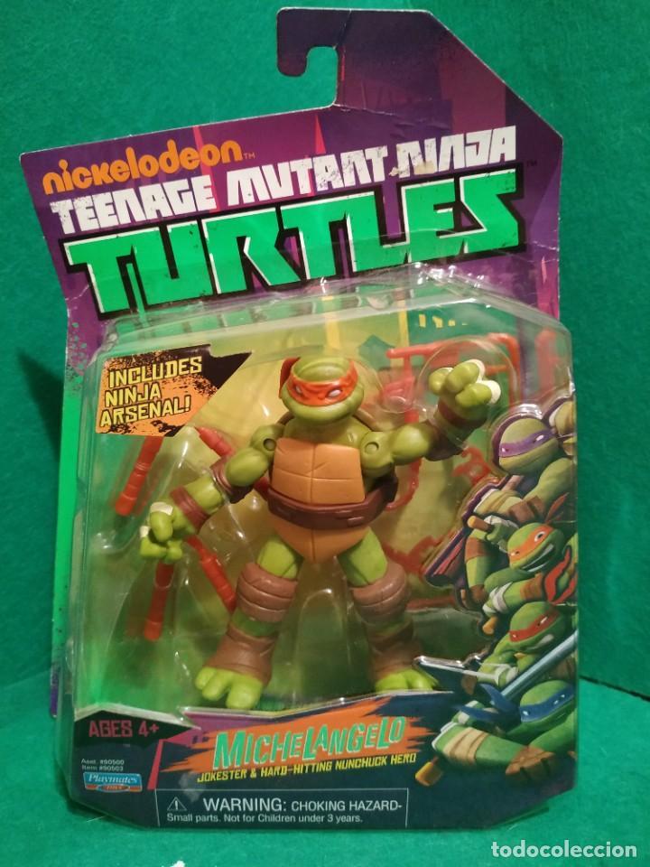 Figuras y Muñecos Tortugas Ninja: Lote 4 tortugas Leonardo Donatelo Miquelangelo Rafael Playmates Nickelodeon 2012 en Blister - Foto 6 - 194978540