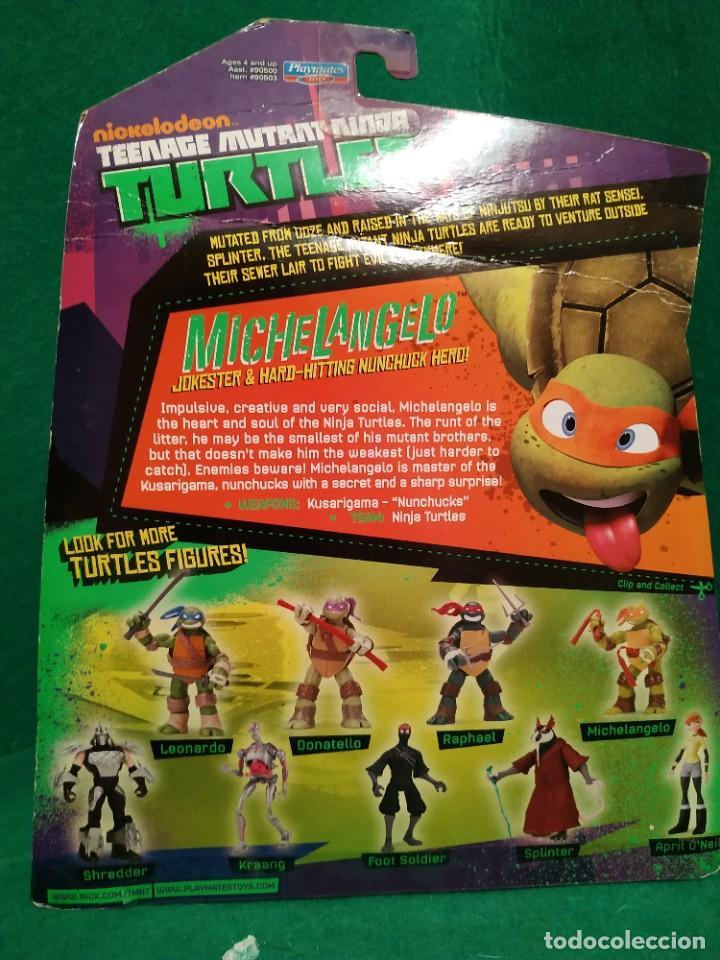 Figuras y Muñecos Tortugas Ninja: Lote 4 tortugas Leonardo Donatelo Miquelangelo Rafael Playmates Nickelodeon 2012 en Blister - Foto 7 - 194978540