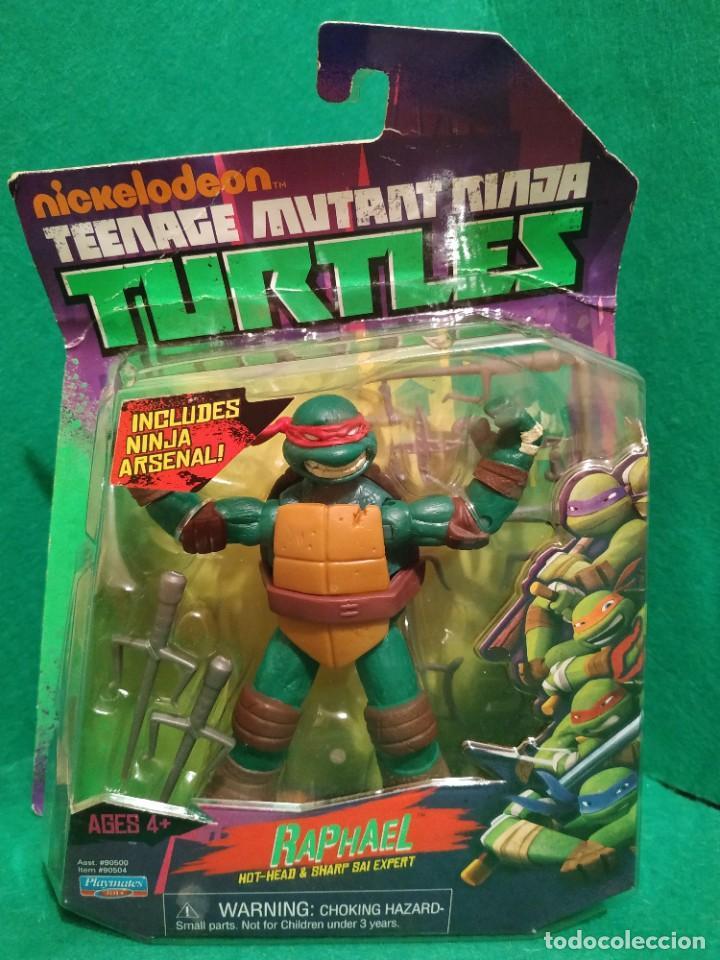 Figuras y Muñecos Tortugas Ninja: Lote 4 tortugas Leonardo Donatelo Miquelangelo Rafael Playmates Nickelodeon 2012 en Blister - Foto 8 - 194978540