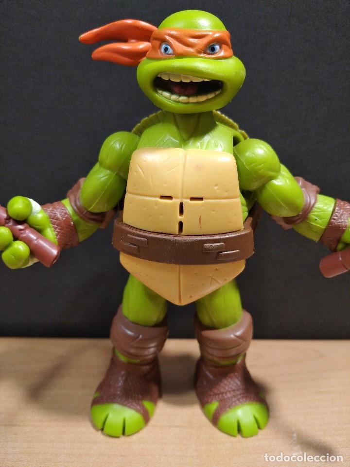 Figuras y Muñecos Tortugas Ninja: FIGURA TORTUGA NINJA MICHELANGELO CON SONIDO-15cm aprox.-VIACOM-2012-VER FOTOS-V1 - Foto 2 - 200036540