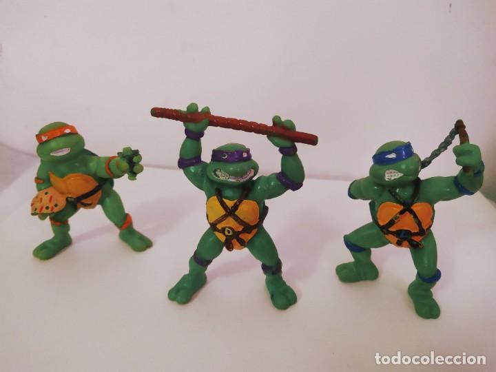 EXCELENTE LOTE 3 NINJAS YMATES TOYS - MIRAGE STUDIOS 1988 - TORTUGAS NINJA FUNCIONA A CUERDA 12 CMTS (Juguetes - Figuras de Acción - Tortugas Ninja)