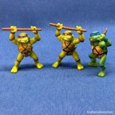 Figuras y Muñecos Tortugas Ninja: TORTUGAS NINJAS - 2 FIGURAS DONATELLO - 1 FIGURA LEONARDO - YOLANDA - AÑO 1988. Lote 222312853