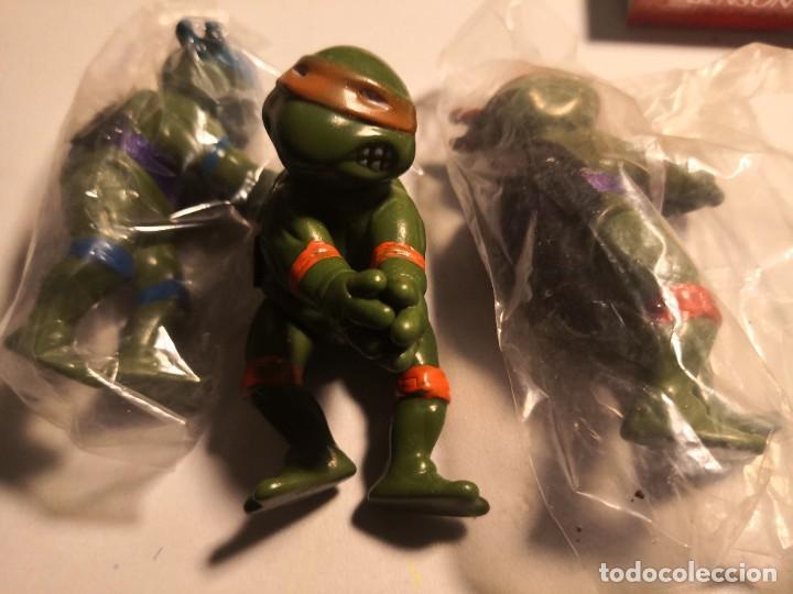 LOTE 3 MUÑECOS 9CTMOS PLÁSTICO MANOS PINZA TORTUGAS NINJA BOOTLEG AÑOS 80 90. (Juguetes - Figuras de Acción - Tortugas Ninja)