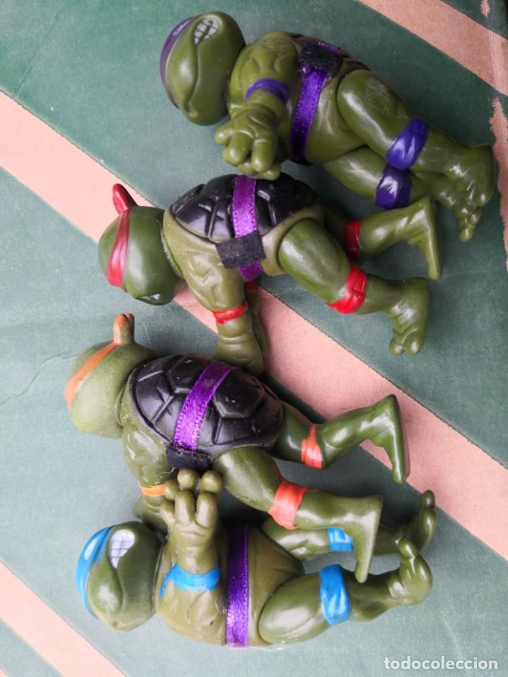 LOTE 4 MUÑECOS 9 CTMOS PLÁSTICO MANOS PINZA TORTUGAS NINJA BOOTLEG AÑOS 80 90. (Juguetes - Figuras de Acción - Tortugas Ninja)