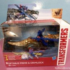 Figuras y Muñecos Transformers: ÓPTIMUS PRIME & GRIMLOCK DE HASBRO AÑO 2014. Lote 188769552