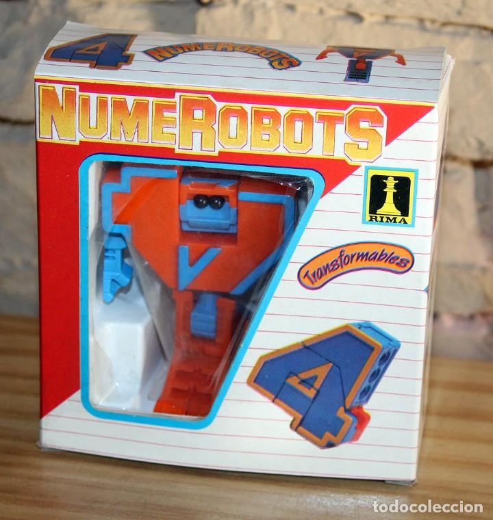 Figuras y Muñecos Transformers: NUMEROBOTS - ROBOT TRANSFORMABLE - NUMERO 4 - RIMA - EN SU CAJA ORIGINAL - AÑOS 80 - Foto 5 - 222798490