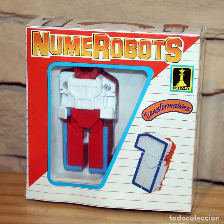 NUMEROBOTS - ROBOT TRANSFORMABLE - NUMERO 1 - RIMA - EN SU CAJA ORIGINAL - AÑOS 80 (Juguetes - Figuras de Acción - Transformers)