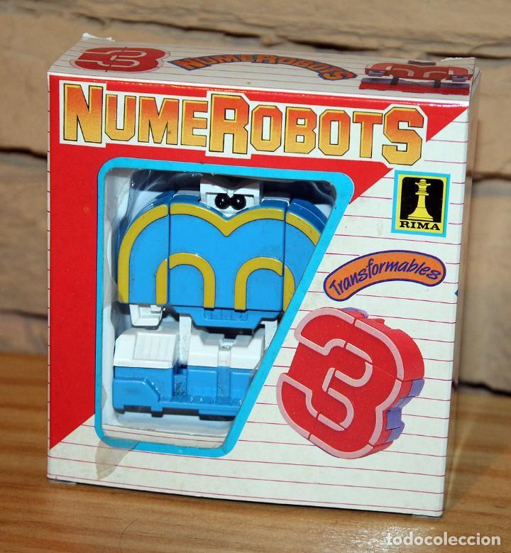 NUMEROBOTS - ROBOT TRANSFORMABLE - NUMERO 3 - RIMA - EN SU CAJA ORIGINAL - AÑOS 80 (Juguetes - Figuras de Acción - Transformers)