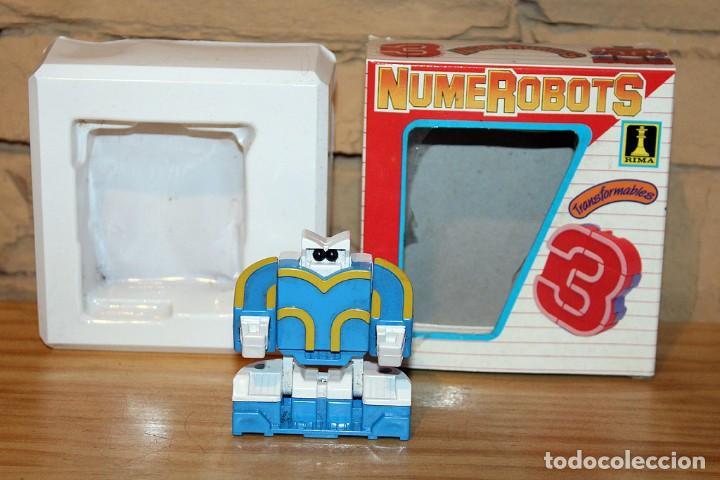 Figuras y Muñecos Transformers: NUMEROBOTS - ROBOT TRANSFORMABLE - NUMERO 3 - RIMA - EN SU CAJA ORIGINAL - AÑOS 80 - Foto 2 - 222798710