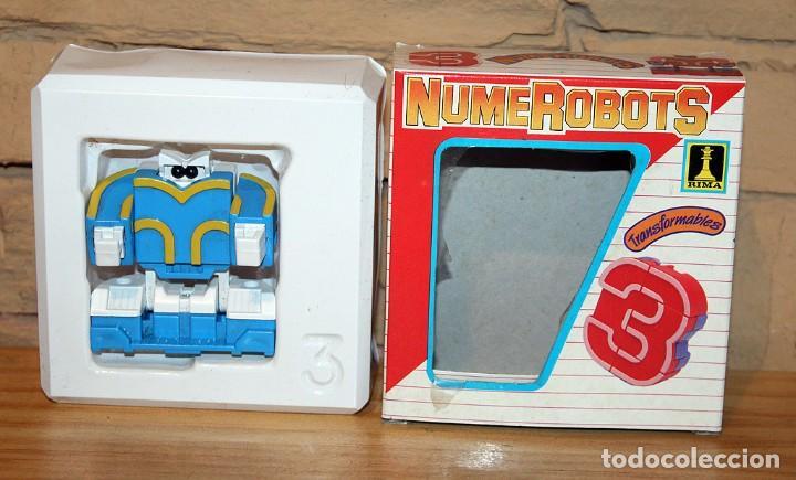 Figuras y Muñecos Transformers: NUMEROBOTS - ROBOT TRANSFORMABLE - NUMERO 3 - RIMA - EN SU CAJA ORIGINAL - AÑOS 80 - Foto 6 - 222798710