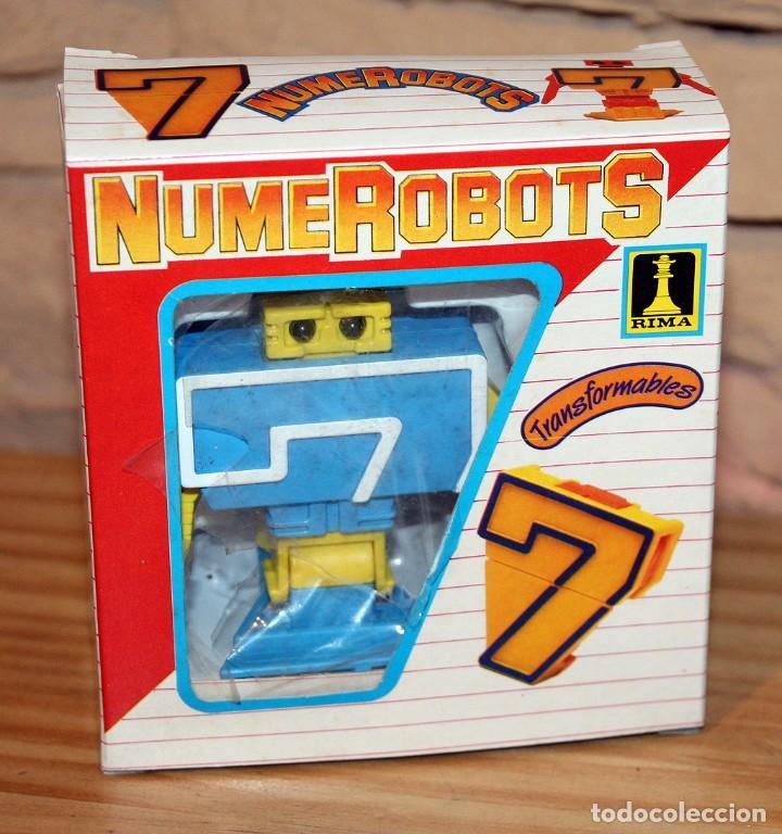 NUMEROBOTS - ROBOT TRANSFORMABLE - NUMERO 7 - RIMA - EN SU CAJA ORIGINAL - AÑOS 80 (Juguetes - Figuras de Acción - Transformers)