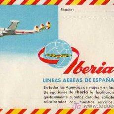 Brochures de tourisme: CARTA PUBLICITARIA Y ILUSTRADA DE IBERIA, LINEAS AERIAS DE ESPAÑA, ESTA SIN ABRIR, AÑOS 60 - 70. Lote 6970237