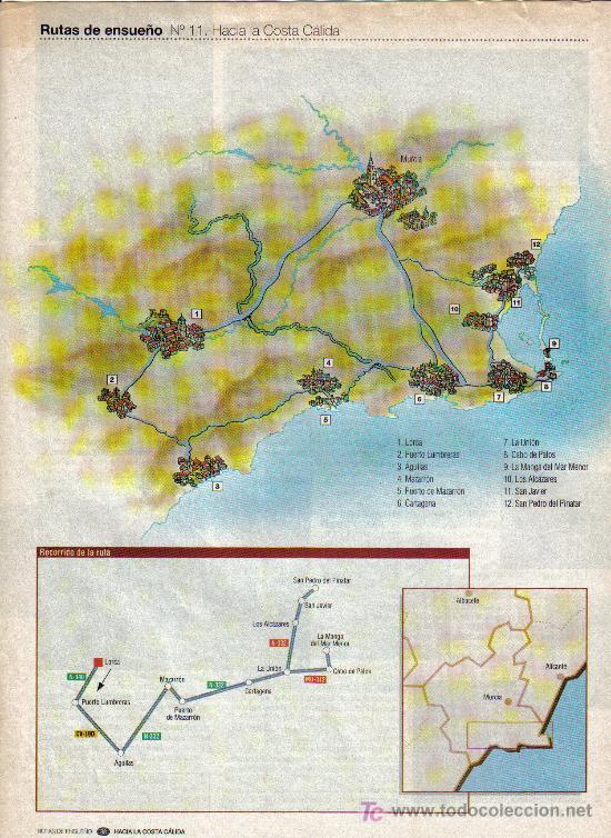 Folletos de turismo: RUTAS DE ENSUEÑO. Nº11. 1997. LA COSTA CALIDA. AGULAS, LORCA, AGULAS, MAZARRON, CARTAGENA, LA UNION - Foto 2 - 7408686