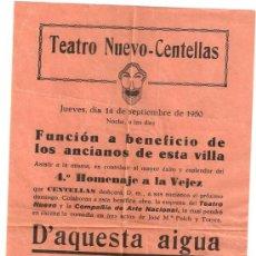 Folletos de turismo: CENTELLAS- TEATRO NUEVO- 14 SEPTIEMBRE DE 1950-VIB . Lote 24493966