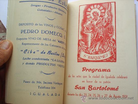 Folletos de turismo: PROGRAMA DE FIESTA MAYOR -CIUDAD DE IGUALADA-1951 - Foto 4 - 27512068