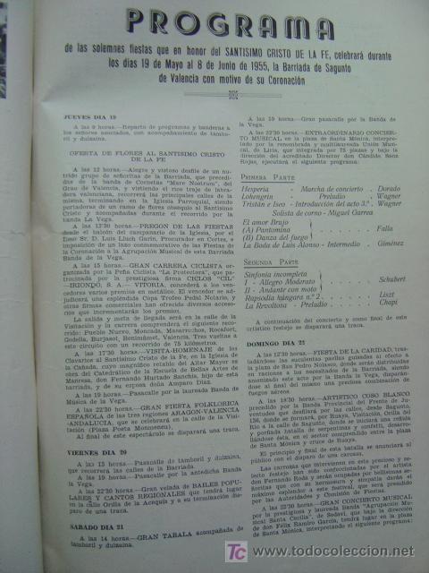 Folletos de turismo: VALENCIA - SOLEMNES FIESTAS EN HONOR DEL SANTISIMO CRISTO DE LA FE, BARRIADA CALLE SAGUNTO- AÑO 1955 - Foto 13 - 23018198