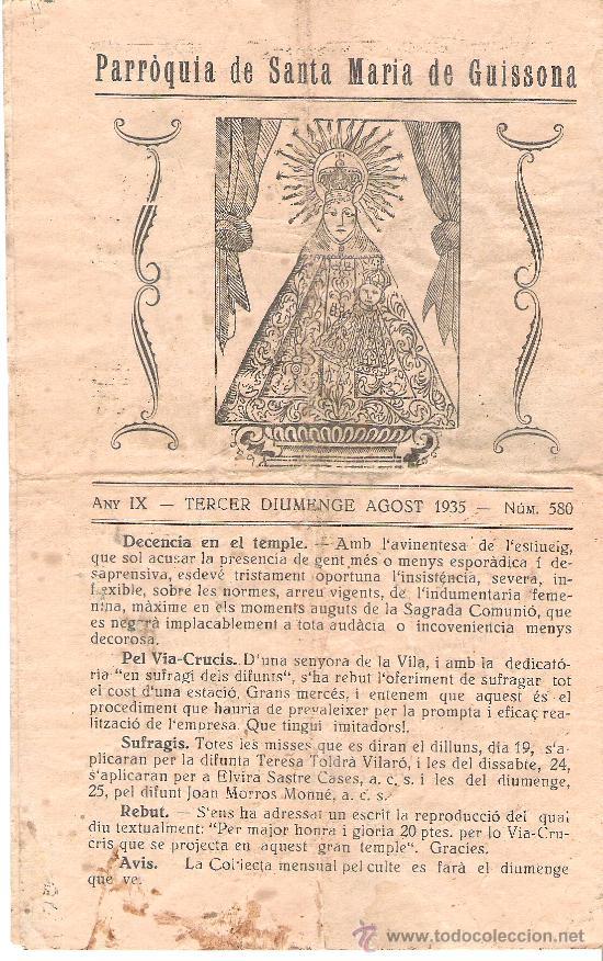PARROQUIA DE SANTA MARIA DE GUISSONA. LA FESTA SANTIFICADA. HOJAS PARROQUIALES AGOSTO 1935. (Coleccionismo - Folletos de Turismo)