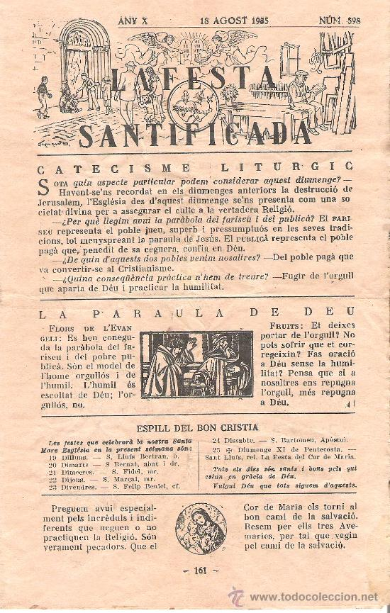 Folletos de turismo: PARROQUIA DE SANTA MARIA DE GUISSONA. LA FESTA SANTIFICADA. HOJAS PARROQUIALES AGOSTO 1935. - Foto 3 - 10729301