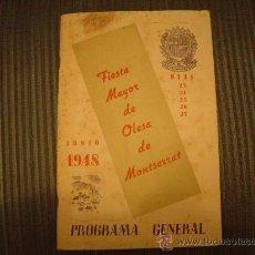 Folletos de turismo: PROGRAMA FIESTA MAYOR OLESA DE MONTSERRAT 1948. Lote 16716802