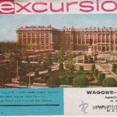 Folletos de turismo: PLANO DE MADRID E INFORMACION SOBRE EXCURSIONES - WAGONS-LITS//COOK - AÑO 1965 -. Lote 11769277