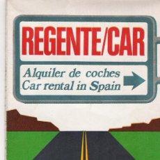 Folletos de turismo: ALQUILER DE COCHES - REGENTE/CAR - MAPA DE CARRETERAS DE ESPAÑA - KILOMETROS Y SEÑALES - AÑO 1973 -. Lote 11769348