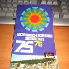 Folletos de turismo: EXCURSIONES MALLORCA 75-76. Lote 12978908