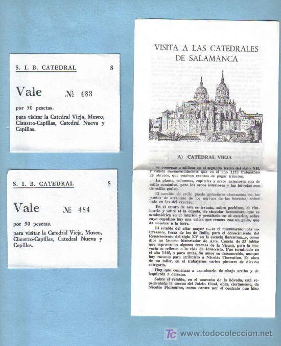 FOLLETO VISITA A LAS CATEDRALES DE SALAMANCA Y DOS ENTRADAS (Coleccionismo - Folletos de Turismo)