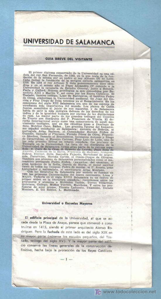 FOLLETO UNIVERSIDAD DE SALAMANCA (Coleccionismo - Folletos de Turismo)