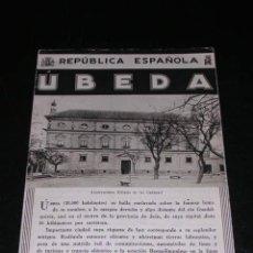 Folletos de turismo: FOLLETO DE UBEDA ( JAEN ) PUBLICACIONES ESPAÑOLA PNT , ILUSTRADO. Lote 13431687