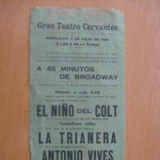 Folletos de turismo: PROGRAMA DE TEATRO TIPO FOLLETO. TEATRO CERVANTES . 1924. . Lote 13527520