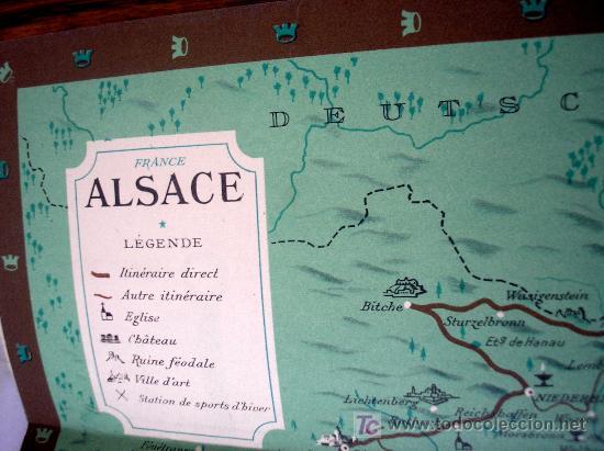 Folletos de turismo: Folleto de Alsacia Francia. Contiene mapa y plano - Foto 2 - 19602787
