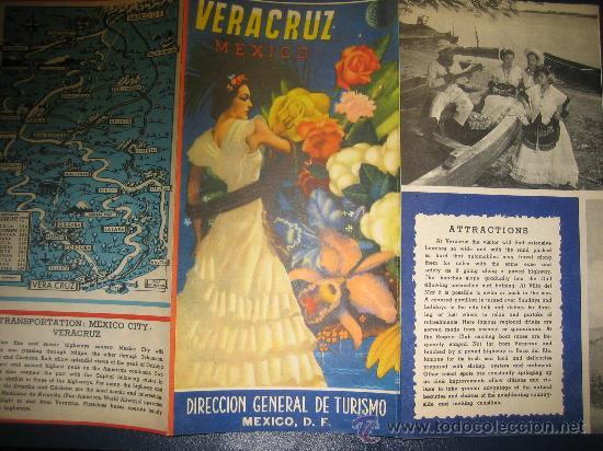 ANTIGUO FOLLETO DE TURISMO VERACRUZ MEJICO (Coleccionismo - Folletos de Turismo)