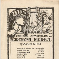 Folletos de turismo: PAGINAS MUSICALES DE BARCELONA GRAFICA.AÑO 1925.PARTITURAS.MUSICA.CANCIONES.FOX TROT.TANGO.PASODOBLE. Lote 15513000