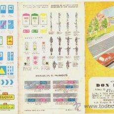Folletos de turismo: FOLLETO TRÍPTICO AÑO 1971 -SEÑALES DE TRÁFICO - *AUTO ESCUELA DON PELAYO*. Lote 176277338