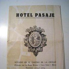 Folletos de turismo: SALAMANCA - PLANO TURISTICO PUBLICIDAD HOTEL PASAJE. Lote 133603067