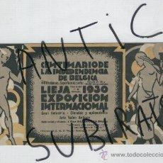 Folletos de turismo: CENTENARIO DE LA INDEPENDENCIA DE BELGICA. AÑO 1930. DISEÑO MODERNO. LIEJA. . Lote 17030150