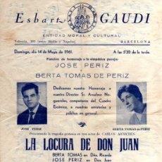 Folletos de turismo: FOLLETO DEL ESBART GAUDI 1961. Lote 19170987