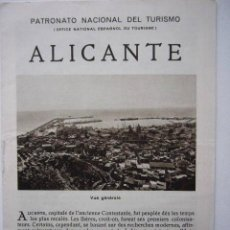Foglietti di turismo: FOLLETO DEL PATRONATO NACIONAL DEL TURISMO. ALICANTE. 8 PP. ILUSTRADO.. Lote 19225672