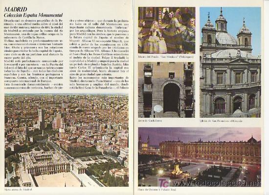 MADRID.COLECCION ESPAÑA MONUMENTAL.TRIPTICO CON FICHA DEL PARADOR - MAS EN RASTRILLOPORTOBELLO (Coleccionismo - Folletos de Turismo)